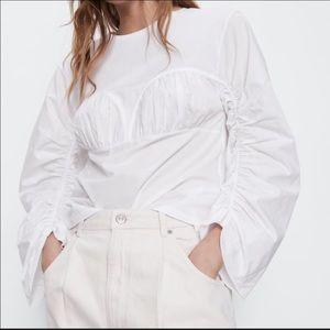 ZARA 100% cotton ruched detail top